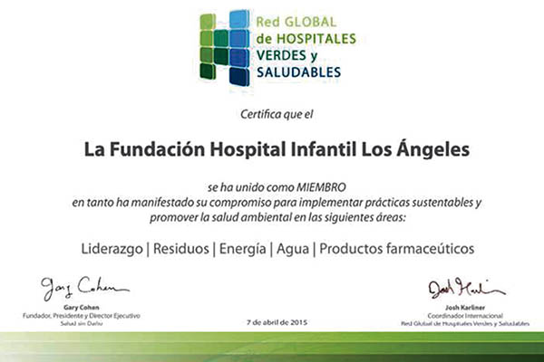 Miembro De La Red Global De Hospitales Verdes Y Saludables. (2015)